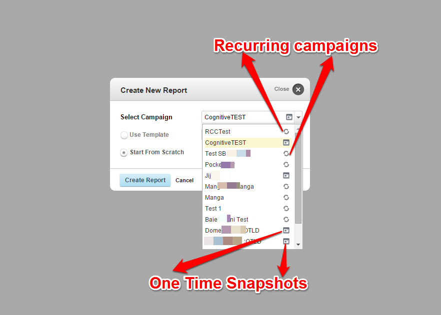 Recurring One Time Snapshot Icons