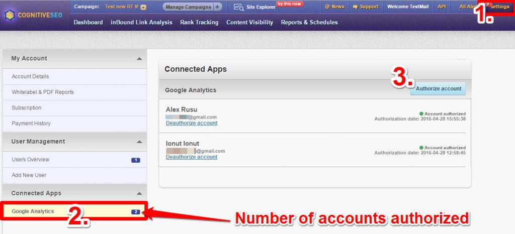 Authorize GA Accounts