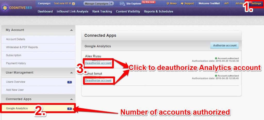 De-authorize GA account