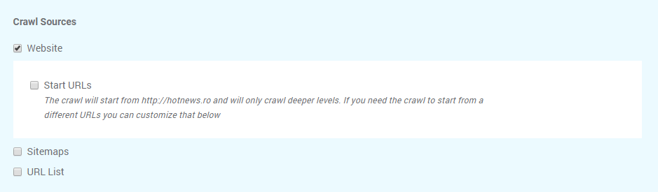 Crawl sources