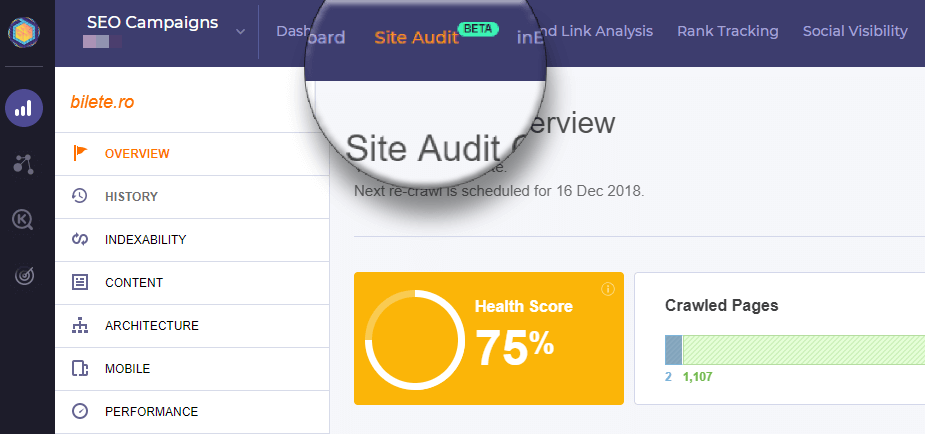 Site audit overview